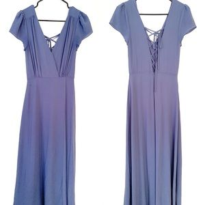Lulu's Dresses - Lulus World on a String Chiffon Lace Back Maxi